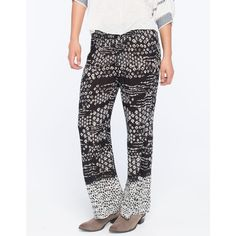 Patrons Of Peace Border Print Womens Pants ($15) ❤ liked on Polyvore featuring pants, woven pants, elastic waist pants, elastic waistband pants, stretch waist pants and gauze pants
