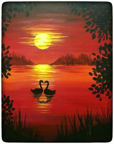 Painting and vino - Abstract Painting Easy Canvas Painting, Easy Paintings, Beautiful Paintings, Canvas Art, Canvas Paintings, Sunset Paintings, Silhouette Painting, Animal Silhouette, Paint And Sip