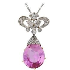 1905 Pink Topaz Diamond Gold Platinum Pendant | From a unique collection of vintage pendant necklaces at https://www.1stdibs.com/jewelry/necklaces/pendant-necklaces/