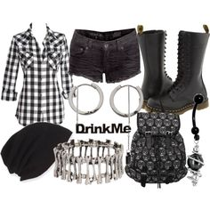 Designer Clothes, Shoes & Bags for Women Casual School Outfits, Emo Outfits, Summer Outfits, Fashion Outfits, Fashion Ideas, Cool Style, My Style, Festival Outfits, Gothic