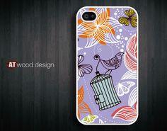 unique  iphone 4 case iphone 4s case iphone 4 cover unique case illustration purple red bird  pattern design printing. $13.99, via Etsy