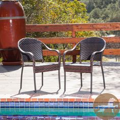 Enjoy some sun with these sturdy outdoor wicker chairs. They'll bring leisure and elegance to your patio or pool area and can be easily matched with most d�cor because of their neutral color. This is a set of two, so you can relax with a friend.