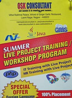 Summer live project with certification training for students BE, MCA, BSC  , MBA, BCA, MCA etc Batch starting from 10th may 2016 ...hurry up to enroll your name for demo class