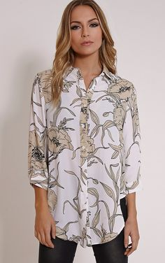 369d028cd8a Macy Beige Floral Print Blouse - Tops - PrettylittleThing