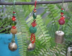 Christmas Tree Boho Bell Ornaments decoration-set of 6 Beaded Ornaments, Christmas Tree Decorations, Christmas Tree Ornaments, Beads After Beads, Glass Wind Chimes, Boho Wedding Decorations, Beaded Curtains, Holiday Tree, Bohemian Decor