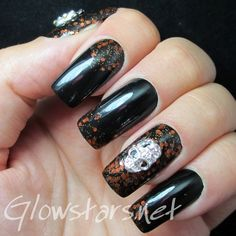 The Digit-al Dozen Does It Again: Halloween - A manicure using Barry M Black and Orly R.I.P.