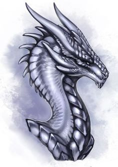 Dragon Silver Wyvern by Adalfyre on DeviantArt Dragon Head, Dragon Art, Dragon Statue, Silver Dragon, White Dragon, Magical Creatures, Fantasy Creatures, Dragon Tales, Dragon Jewelry