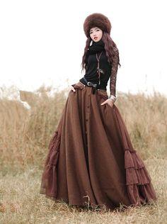Bohochic женская осень зима винтаж ретро однобортный шифон оборками твердые длинная юбка BX0006D Boho Chic