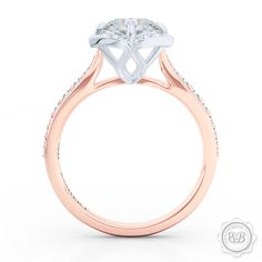 Create Your Own Engagement Ring Online. Custom Round Diamond Halo Engagement Ring and Matching Wedding Band. Romantic Rose Gold. Round GIA certified Diamond. Bashert Jewelry Boca Raton Florida 1.888.580.7378