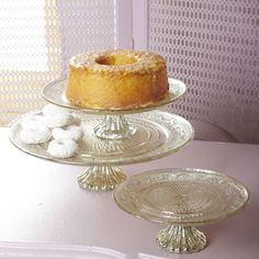 Antiqued Silver Glass Cake Pedestal