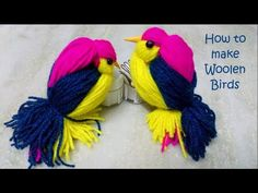 Woolen Birds Making Bird Crafts, Craft Stick Crafts, Easy Crafts, Hand Crochet, Crochet Hooks, Yarn Animals, Easter Bunny Decorations, Ornament Crafts, Christmas Ornament