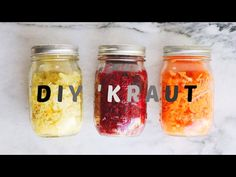 How to make sauerkraut at home. Sauerkraut is easy and fun to make. Sauerkraut is loaded with tons of probiotics and nutrition. Captain Cook took 27 barrels . Making Sauerkraut, Sauerkraut Recipes, How To Make Saurkraut, 16 Oz Mason Jars, Fancy Kitchens, Raw Food Recipes, Keto Recipes, Fermented Foods, Health