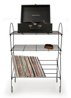 Minimalist Black Wire Record Player Stand
