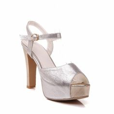 Carol Shoes Chic Women's Buckle Fashion Shiny Party Summer Charms Peep-toe Platform Heeled Sandals * See this great product.