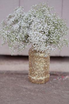 Handmade Gold Glitter Mason Jars with Baby's Breath