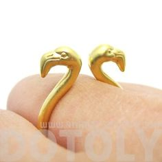 Realistic Double Flamingo Bird Totem Open Band Ring in Gold | US Size 6 or 7