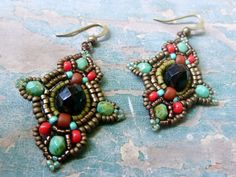 Boho earrings Beaded earrings Beadwoven by DandasCollection