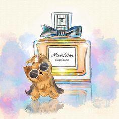 Yorkie illustration inspired on Dior Perfum bottle.