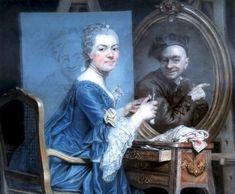 160-4-LE ACCADEMIE DEL 700-------------------Nel 1767 fu eletta un'altra straniera,Anna Dorothea Lisiewska-Therbusch di Berlino.Nel1770 furono ammesse altre due donne,Anne Vallery-Coster e la ritrattista a pastello Marie Suzanne Giroust,moglie di Alexandre Rosli,membro fin dal 1753.-------------------------------Marie Suzanne Giroust(1734-1772) autoritratto con l'immagine di Maurice Quentine De La Tour 1770.La pittrice in questo dipinto ha 36 anni.De La Tour fu uno dei suoi primi maestri.