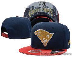 NFL New England Patriots Snapback Hats Navy Red Champions 3X Bowl 130