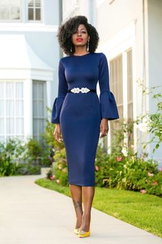 Style Pantry | Navy Midi Dress With Frill Sleeves