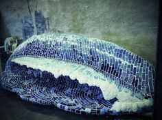Size high - deep x long Description The ultimate in form meeting function, this beautiful wave sculpture, covered entirely with mosaic pieces made from recycled glass and ceramic. Glass Bridge, Black Rock Desert, Mosaic Pieces, California Poppy, Sculptures For Sale, Recycled Glass, Fused Glass, Waves, Ceramics