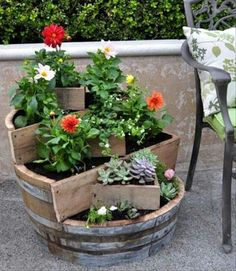 Wine barrel turned into a planter