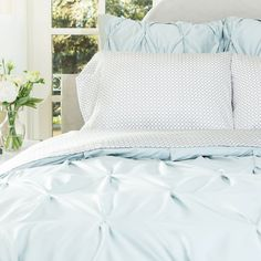 Bedroom inspiration and bedding decor | The Valencia Porcelain Green Pintuck Duvet Cover | Crane and Canopy