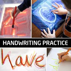 Non-traditional ways for kids to practice handwriting.  These are so fun, they won't realize they are learning!