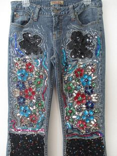 Aqua Jeans, Blue Denim, Embellished Jeans, Embroidered Jeans, Floral Print Design, Floral Prints, Tye Dye Jeans, Business Casual Jeans, Vintage Jeans