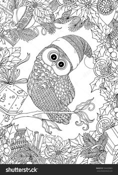 Coloring Book For Adult And Older Children Page With Cute Owl In Santa Claus Cap Christmas Wreath Frame Outline Drawing Zentangle Style