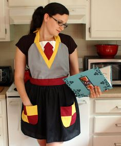 harry potter apron | Harry Potter Inspired Gryffindor Apron by bethanysewandsew on Etsy More