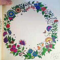 Finished. Joanna Basford, Johanna Basford Secret Garden, Neon Colors, Coloring Books, Mandala, Colouring In, Garden, Vintage Coloring Books, Coloring Pages