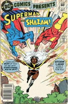 Superman and Shazam vs. Storm  U Go Girl!  Mashed covers:  DC Comics Presents #49  Uncanny X-Men #126