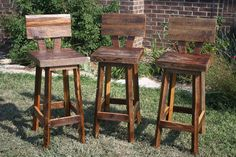 """Custom Reclaimed Rustic and Recycled Oak Barn Wood Rectangle 34"""" Top Bar Stool with Backs. $150.00, via Etsy."""