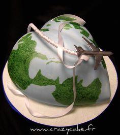World travel wedding cake with heart shaped globe- Groom's cake
