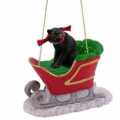 Panther Sleigh Ride Christmas Ornament $14.95