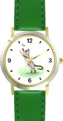 Siamese Cat Chasing Butterfly Cat - JP - WATCHBUDDY® DELUXE TWO-TONE THEME WATCH - Arabic Numbers - Green Leather Strap-Children's Size-Small ( Boy's Size & Girl's Size ) WatchBuddy. $49.95