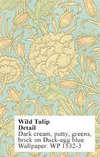 Historic Style - Wild Tulip - by William Morris, wallpaper and fabric