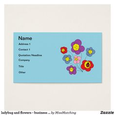ladybug and flowers - business cards