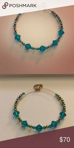 Alex and Ani - Swarovski Crystal Turquoise Gold tone accents with genuine Swarovski Crystals in turquoise from Alex and Ani. Very rare, each store only received 10 of each from 3 seasons ago. Alex & Ani Jewelry Bracelets