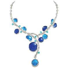 Sylvan Cobalt Blue and Aquamarine Enamel Silver Tone Necklace (1110 TWD) ❤ liked on Polyvore featuring jewelry, necklaces, enamel necklace, aquamarine jewelry, silvertone necklace, silver tone jewelry and silver tone necklace