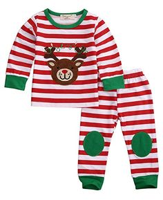 68e65ba694 Baby Boys Girls Reindeer Christmas Outfits Toddler Pajamas Clothes  (6-12Months