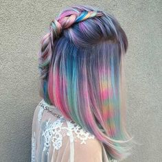 Rainbow Pastel Asymmetrical Long Bob (Lob)