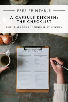 Free Printable - A Capsule Kitchen Checklist | How to Curate the Essentials for the Minimalist Kitchen on A Daily Something. Spring Cleaning and Kitchen Organization.