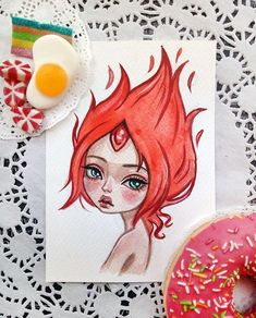 Flame Princess  This art is available in my Etsy  Link in profile  #advanturetime #flameprincess #illustration #artstagram #watercolorart
