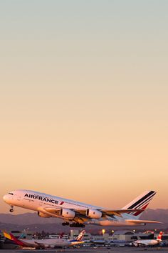Air France Airbus A380-861 F-HPJE taking off from Los Angeles-International.