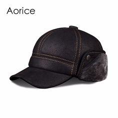 HL083  New New Fashion Men's Scrub Genuine Leather baseball Winter Warm baseball Hat / Cap 2colors