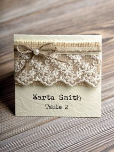 Custom listing (20) Place Cards Tented Place Cards  Lace Escort Card Name Card Burlap Place Cards Twine Escort Card