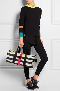 Monreal London - #Striped neon-trimmed leather #holdall.
